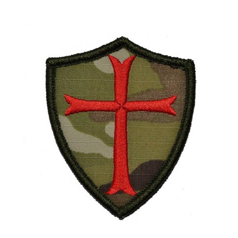 Parche bordado para coser Escudo Templario 7//5 cm  adorno ropa personalizada