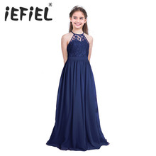 IEFiEL שרוולים הלטר פרח בנות טול תחרה שמלת צד פורמלי כדור שמלת נשף נסיכת שושבינה חתונה העשרה ילדי בגדים