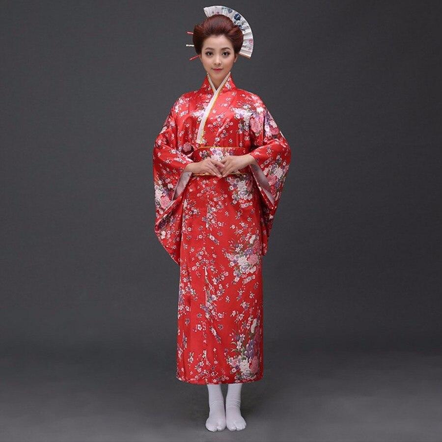 Fashionable Japanese Satin Yukata With Obi Sexy Women's Kimono Haori Novelty Vintage Party Prom Dress Floral One Size