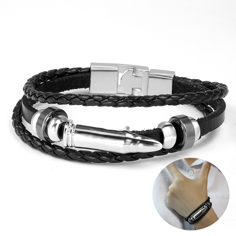 Mens Multilayer Woven Leather Bracelet Wristband for Men Braided Charm Bangle in Black Braslet Male Jewelry