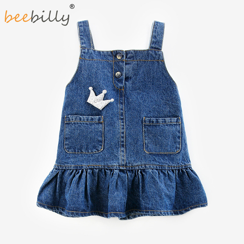 Denim Dress 2018 Brand Summer Girls Dress Cartoon Rabbit Baby Girls Clothing Print Child ...
