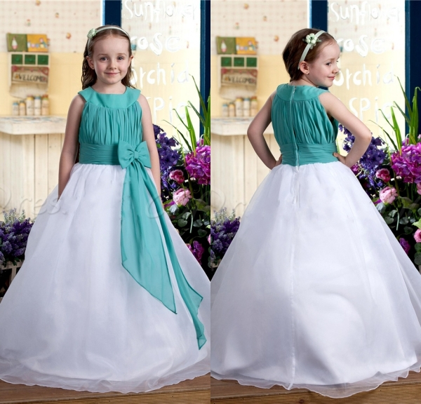 2015 Lovely Two Tones A line Designer Flower Girl Gowns with Bow ...