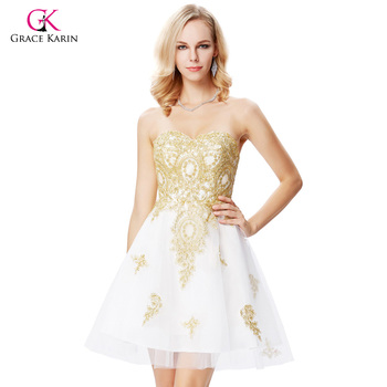 Grace Karin White Short Cocktail Dresses 2017 Sweetheart Golden Appliques Formal Dress Cocktail Jurk Tulle Coctail Gown 0138 cocktail dress