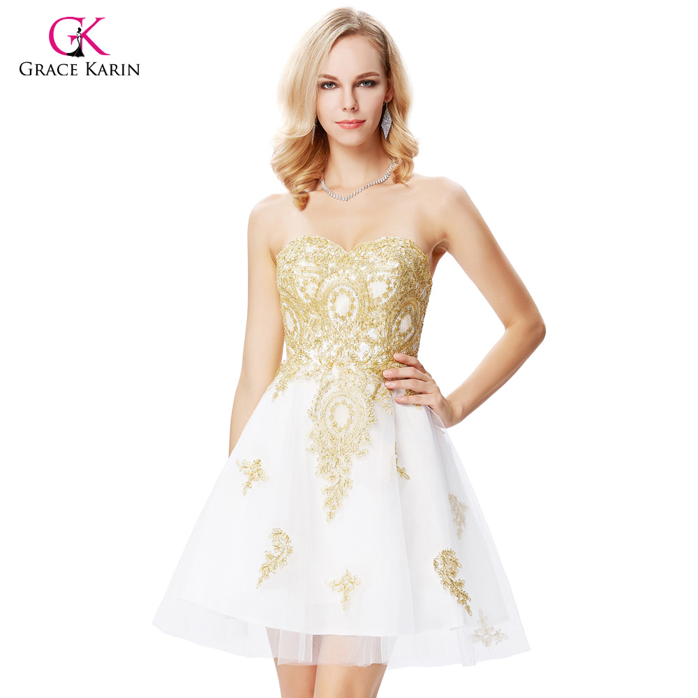 White dress cocktail - Grace Karin White Short Cocktail Dresses 2017 Sweetheart Golden Appliques Formal Dress Cocktail Jurk Tulle Coctail Gown 0138