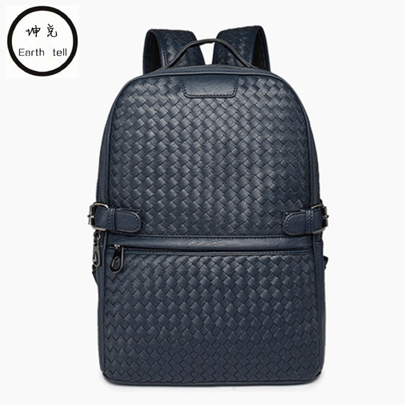 купить PU leather woven backpack men women fashion large capacity travel school bag high quality weave laptop bags luggage schoolbag по цене 3221.72 рублей