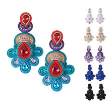 KPACTA New Fashion National Retro Earrings Female Big Soutache Handmade Crystal Pendant Party Gift Oorbellen