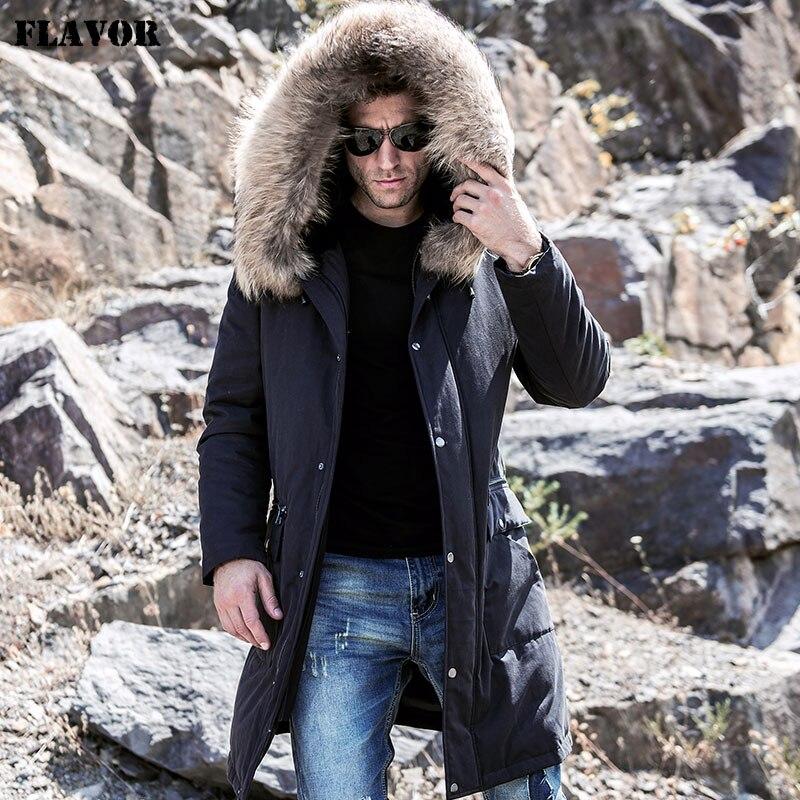 Parka de piel Real de sabor para hombre con forro de piel de conejo Rex desmontable capucha de piel de mapache abrigo de invierno largo negro cálido