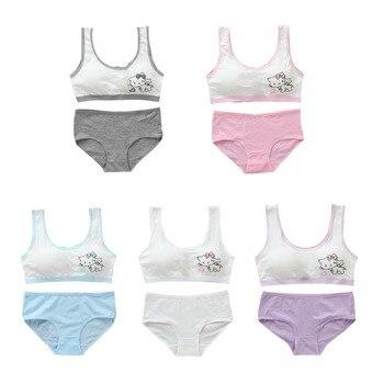 84bca969c Ropa interior de algodón para niñas, sujetador de entrenamiento para  adolescentes, Conjunto de sujetador