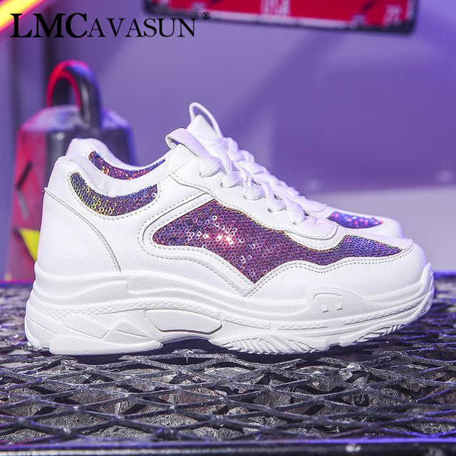 LMCAVASUN Women platform sneakers chunky sneakers glitter sneakers  Comfortable Breathable Flats Shoes Casual Shoes Women 4cc04ef9f091