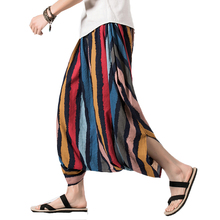 Punk Cross-Pants Hip Hop Men Wide Leg Pants Baggy Cotton Male Stripes Dancing Harem Pants New Wide Leg Trousers Casual Pants 5XL 2019 new women yoga pants harem loose wide leg sweatpants bloomers running jogging casual fitness pants activewear crotch pants