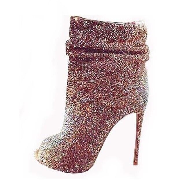 5fc7249f51fd0 Luksusowe kobiety błyszczący kryształ kostki buty Open Toe buty na obcasie  botki lśnienie diament złota sukienka