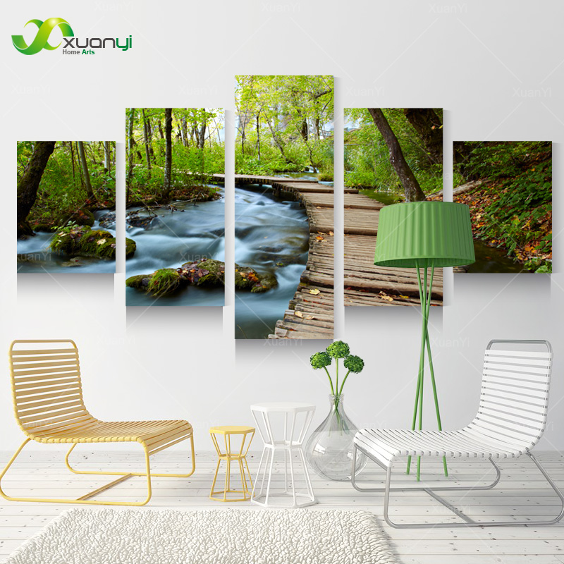 5 Piece Wall Art Canvas Prints Waterfall Home Decor
