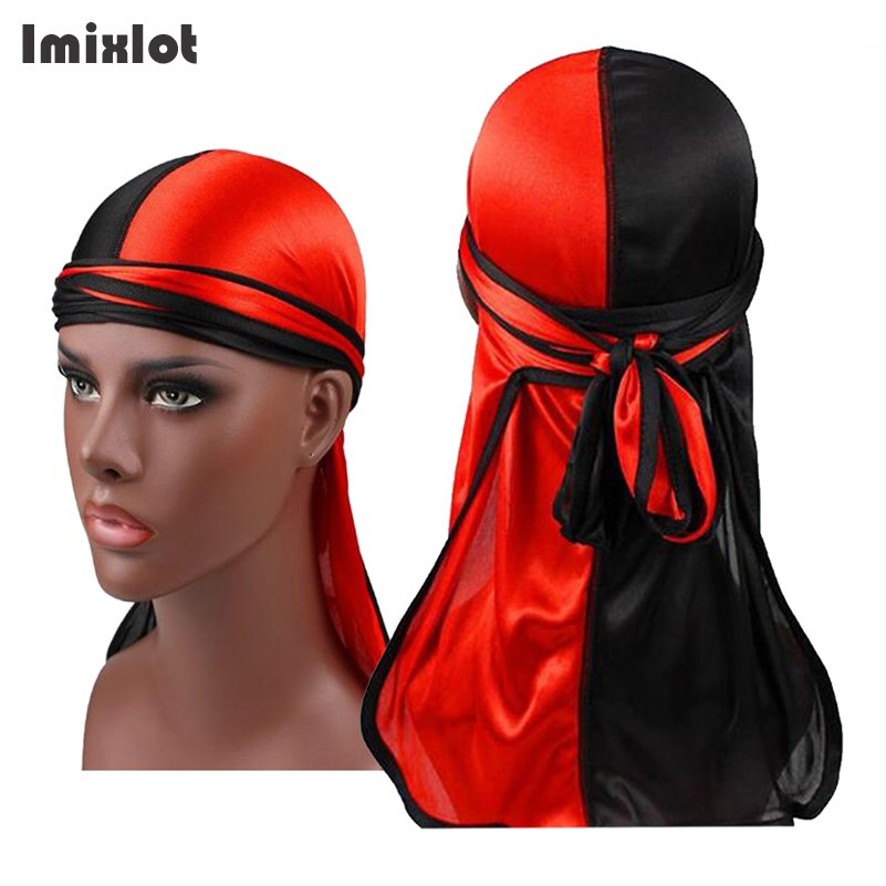 imixlot 1 pc men s satin durags bandanna turban wigs men silky durag
