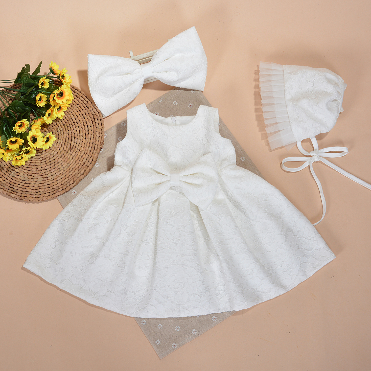 Baby Girl Baptism Dress With Hat Bow Gown Ball White Formal Baptism
