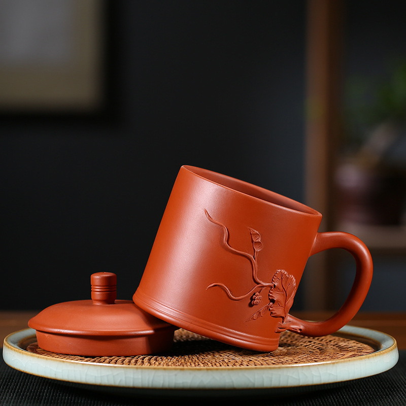 High end Yixing Purple Sand Gift Box Set Gift Teaware Raw Mine Purple Sand Manual Covered Cup Tea Office Cup - 4