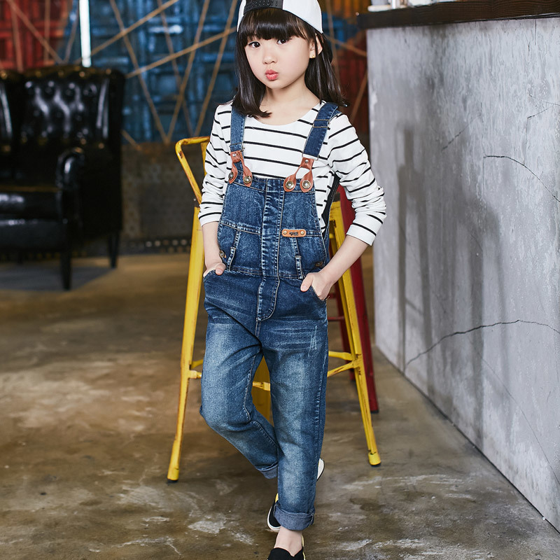 High Quality Fashion Children Girl Jeans Pants Jumpsuit 2016 Spring Teenage Kids Baby Girls Denim Overalls Clothing