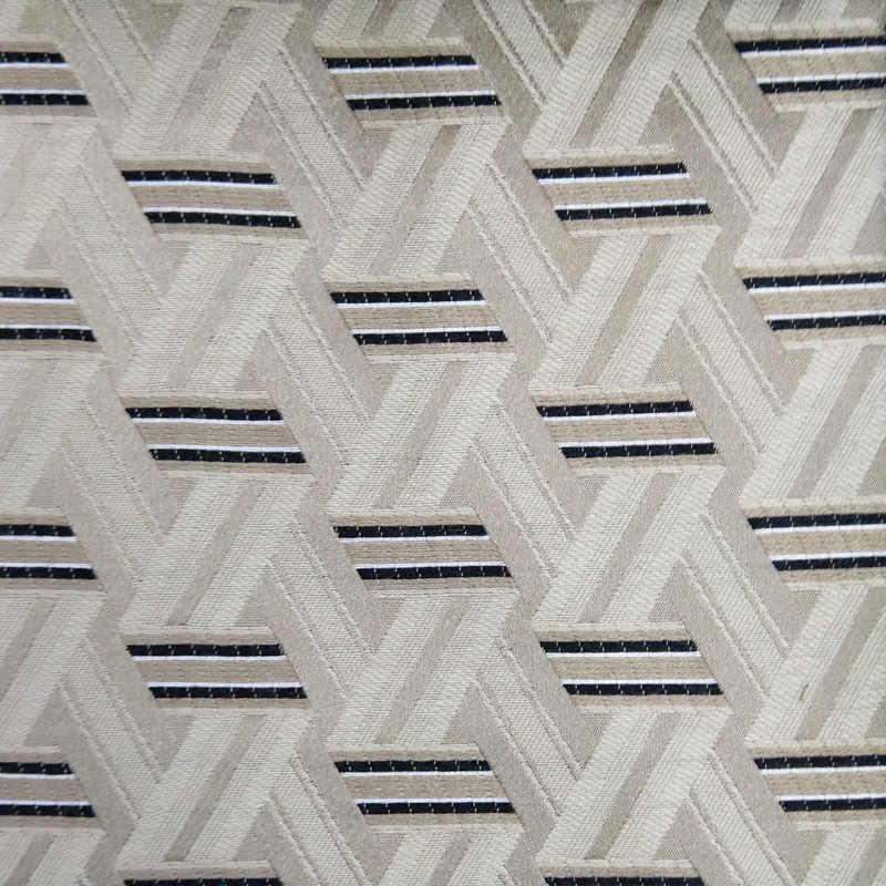 Geometric Stripes Canvas Cotton Fabric 55 inch// 140cm Material White Blue