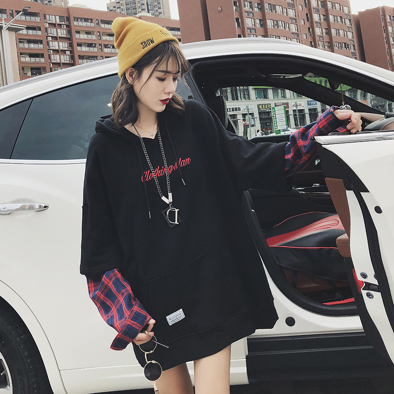 2018new European and American long-sleeved false two pile thickening cardigan female early autumn loose hoodie