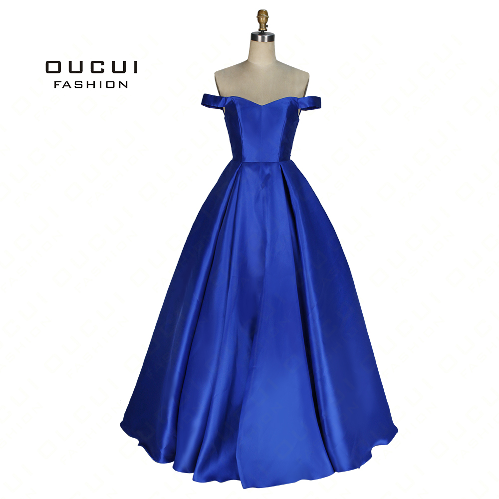 Real Photos Ball Gown Formal Open Back Handwork Royal Sweetheart Prom Dress Long Evening Dress  OL102920B