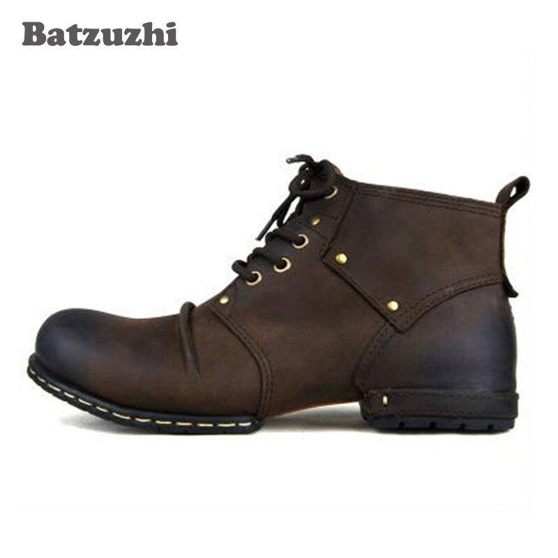 De Para Tornozelo Os Leather Artesanal Com Livre Botas Ao Inside Sapatos Homens Vaca up Dos brown Black Ar Inverno Pele Inside Batzuzhi Couro Lace Genuíno HtwqdHU8O