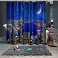 Blue City night scene Luxury Modern Bathroom Waterproof Kitchen 3D Shower Curtains Door Window Curtains