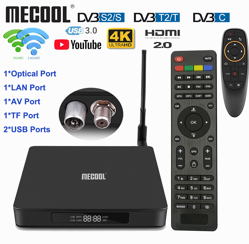 2019 Mecool K6 TV Box DVB-T2 DVB-S2 DVB-C 3D 4K 2.4G/5G WiFi H.265 USB3.0 Set Top Box With HiSilicon HI3798 Chipset Optical Port