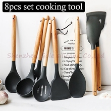 8 sztuk/zestaw silikonowe narzędzia kuchenne picie kuchnia naczynia naczynia stołowe akcesoria materiały pojemniki kuchenne