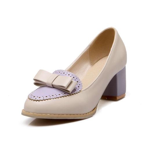 ФОТО mixed colors Bowtie Casual sweet  Platform pumps yellow purple pink grade PU shoes pumps size34-45 basic women pumps