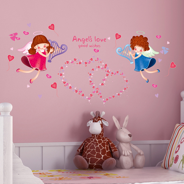 cartoon angel wall sticker love kids wing cupid autocollant for baby