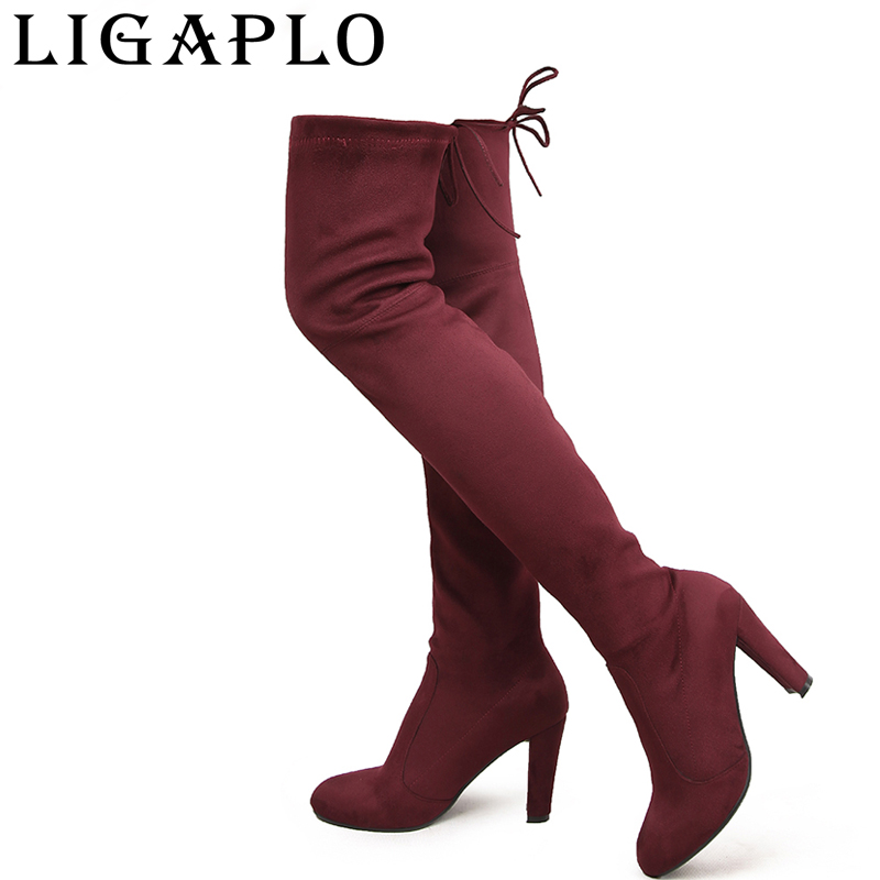Woman Boots Over The Knee Special Offer Faux Sued Botas Mujer Boots High Heels Stretch Faux Thigh Sexy Fashion New Style Shoes autumn winter women boots stretch faux suede slim thigh high boots fashion sexy over the knee boots high heels shoes woman 35 43