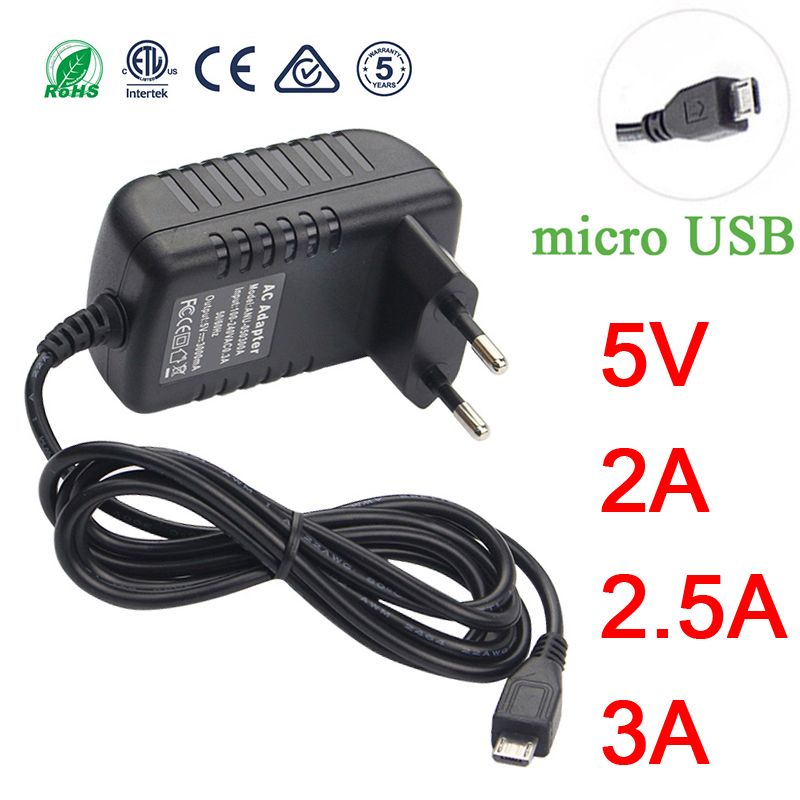 <font><b>Micro</b></font> <font><b>USB</b></font> Power Adaptor <font><b>5V</b></font> 3A 2A 2.5A 5 v volt 100-240V <font><b>Adapter</b></font> Supply Charger for Raspberry PI 3 Zero Model B B+ Tablet PC 5V3A image