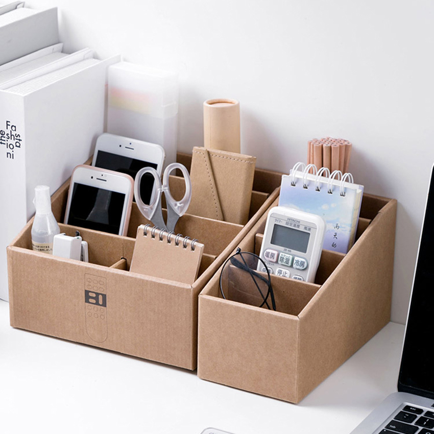 Office Desk Storage Box Cosmetic Paper Holder Stationery Container Remote Control Organizer 4-layer Case