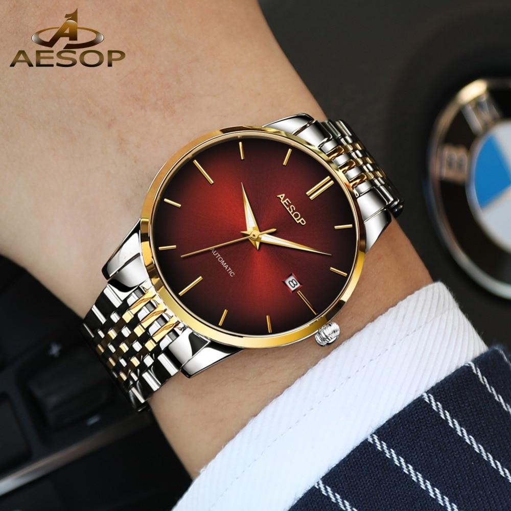 AESOP Luxury Gold Bracelet Watches for Men Luminous Hands Clock Male Automatic Watch Auto Date Business Mechanical Wristwatches все цены