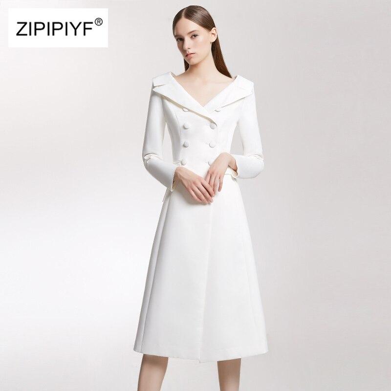 D9006 Slim Haute Qualité Double Col À Robe Breasted Manches Printemps En White V Profond Parti Femmes Encolure Piste De Mode 2018 Blanc Longues wP80XnOk