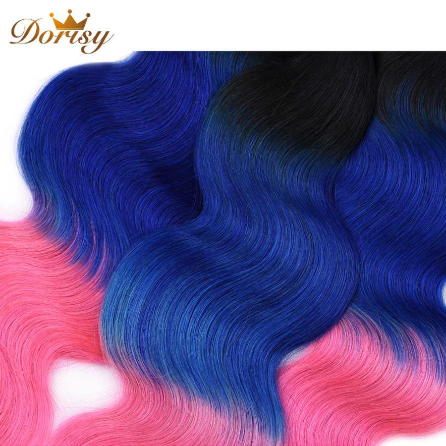 事前色 T1b ブルーピンクオンブルカラー実体波バンドルと閉鎖人間の髪のバンドル閉鎖マレーシアの Remy 毛バンドル