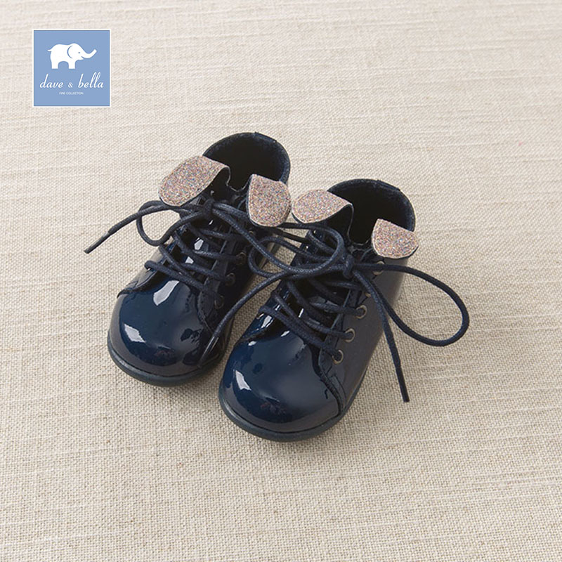 Dave Bella autumn winter baby boy girl navy puppy leather shoes brand shoes DB5342