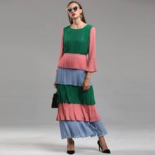 Hot fashion long sleeve layered dress 2018 Fall winter runway flare sleeve elegant pleated dress Chic maxi dress D678 цена
