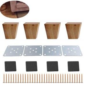Image 2 - 4 stücke 8cm Höhe Solide Holz Rechten Winkel Trapez Möbel Beine Sofa Bank Closet Kabinett Füße Couch Kommode Sessel fuß