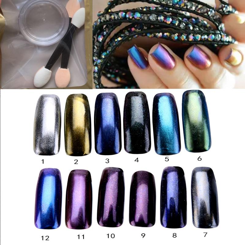 ①3g/box Mirror Nail Chrome Magic Powder +2 Brushes Nail Art ...