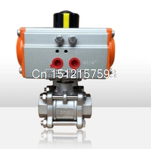 3/4 Inch Pneumatic Air Actuated 316 Stainless Steel 3 Pieces Ball Valve DN20 1 1 4 dn32 female stainless steel ball valve 3 way 316 screwed thread manual ball valve handle t port gas oil liquid valve