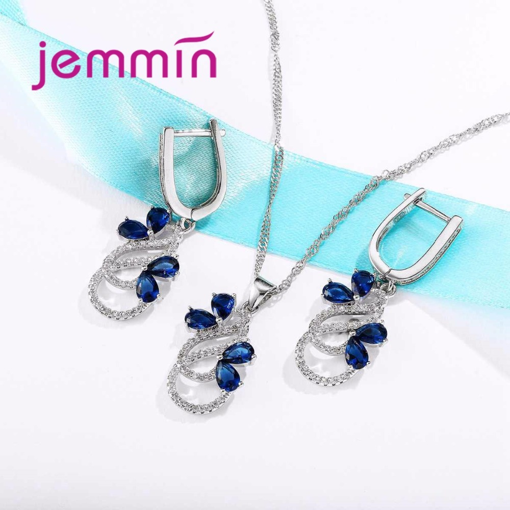 HTB1CTJ9XlHwL1JjSszfq6yB4VXaC Luxury 925 Sterling Silver Necklace Earrings Set For Women Female Party Bule Austrian Crystal Jewelry High Quality