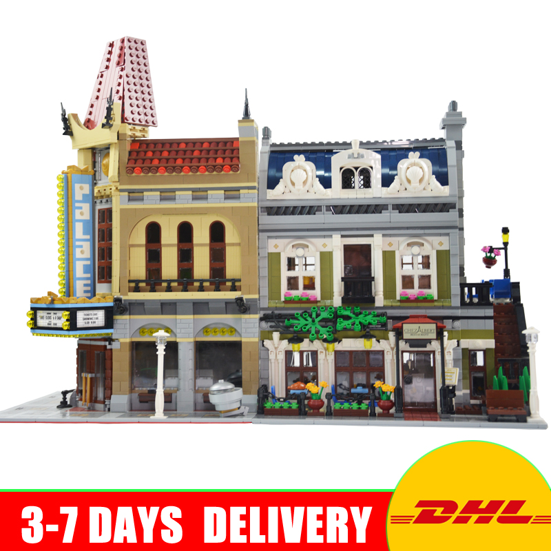 Modular City Town Street 15006 Palace Cinema 15010 Parisian Restaurant Model Building Kit Blocks Compatible 10243 10232 dhl new 2418pcs lepin 15010 city street parisian restaurant model building blocks bricks intelligence toys compatible with 10243
