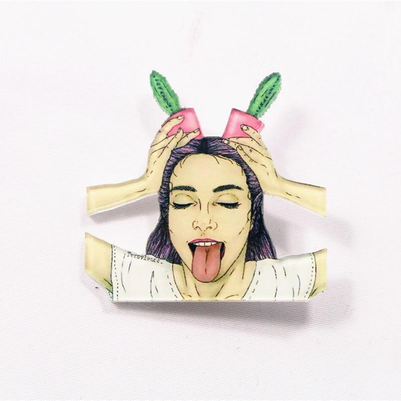 HOT mix 1PC Shirt Cute Cartoon brooch Acrylic Badge Pins Bag Packbag