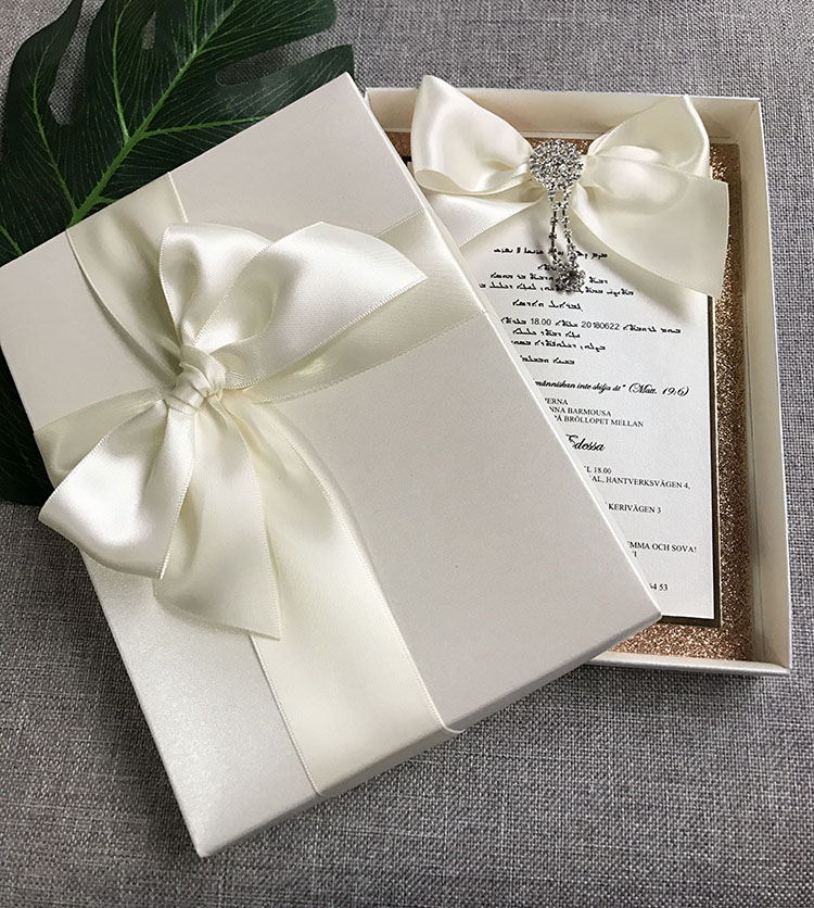 Us 329 0 6 Off Handmade Diy Wedding Cards With Champagne Gold Glitter With Outer Box In Cards Invitations From Home Garden On Aliexpress