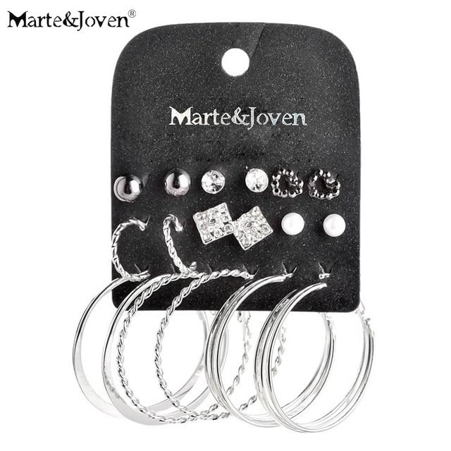 [Марте и Joven] 2015 новый стиль смешанные 9 pairs Неделю шпилька серьги имитация жемчужина серебрение серьги, установленные для женщин