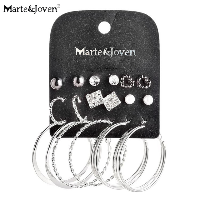 [Marte&Joven] 2015 new style mixed 9 pairs Week stud earrings sets imitation pearl silver plating earring set for women
