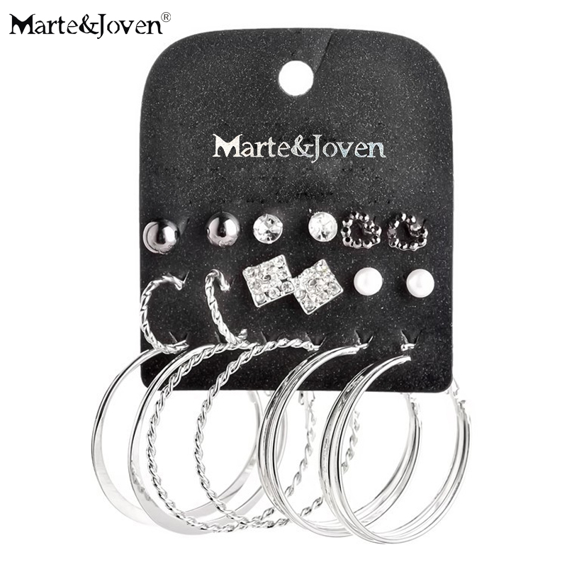 Marte & Joven New Style Mixed 9 Paar Week Hoop Set Ohrring Imitation Pearl Silver Plating Große Ohrringe Sets für Frauen