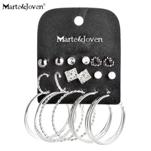 Marte&Joven New Style Mixed 9 pairs Week Hoop Set Earring Imitation Pearl Silver Plating Big Earrings Sets for Women