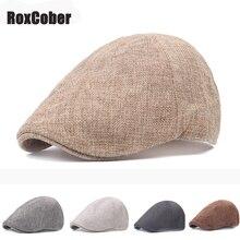 RoxCober весна лето газетные кепки классические западные шляпы от солнца для мужчин и женщин смесь хлопка плюща шапки плоские поля регулируемые береты