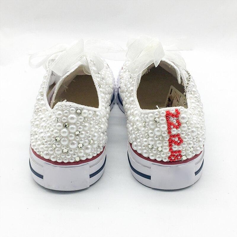 Zapatos vulcanizados de perlas blancas planos personalizados Nombre de letras personalizado regalo de Navidad cuentas de diamantes de imitación Zapatillas Zapatos Casuales-in Zapatos vulcanizados de mujer from zapatos    3
